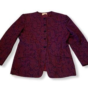 Pendleton Virgin Wool purple floral paisley blazer